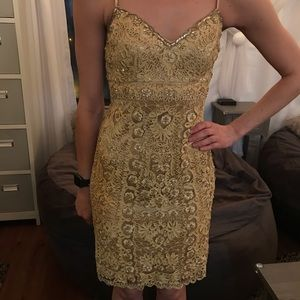 Sue Wong Nocturne gold beaded dress